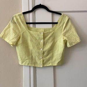 Paloma Wool Lenna yellow green button up crop top
